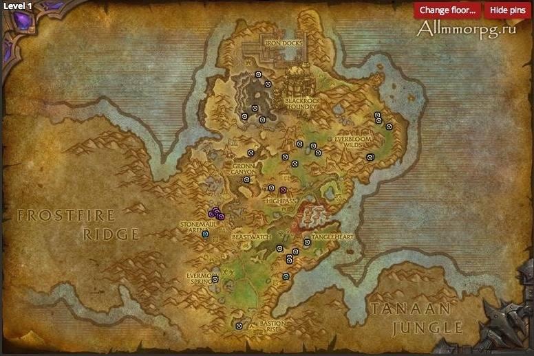 Карта редких монстров Горгронда