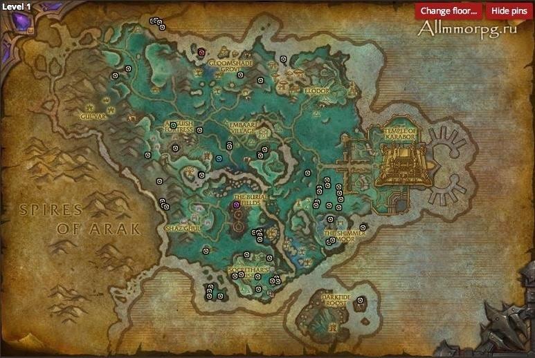 Карта редких мобов в Долине призрачной луны