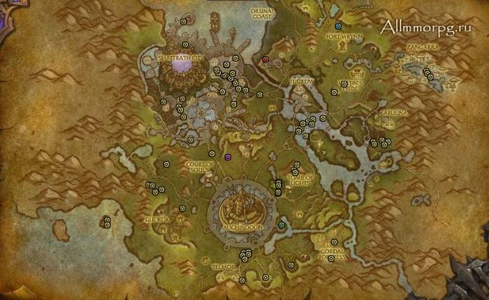Карта рарников Таладора