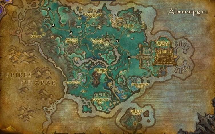 Карта храмов в Долине призрачной луны