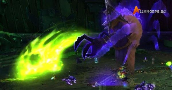Ксул'горак быстро переключается между силами Скверны и БездныЗдесь он использует Удар Скверны, находясь в облике Бездны