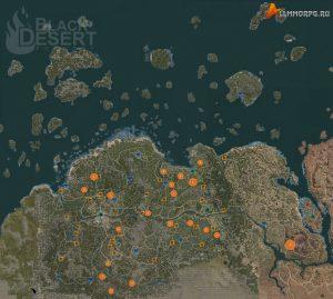 Карта мест для фарма крови