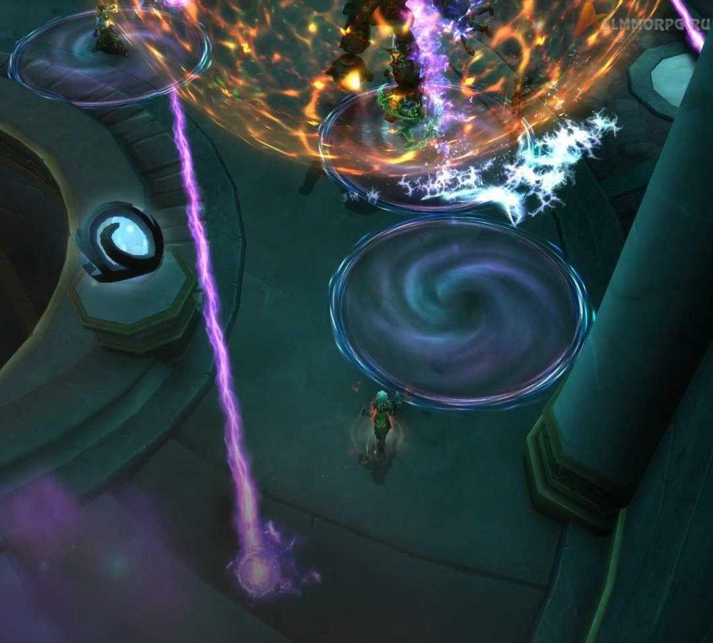 Волшебный часовой (нижний левый угол), Временная аномалия (фиолетовые круги), Искра (правый верхний угол)
