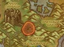Зона раскопок на карте