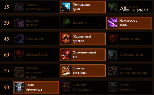 PvE билд Чернокнижника Демонолога