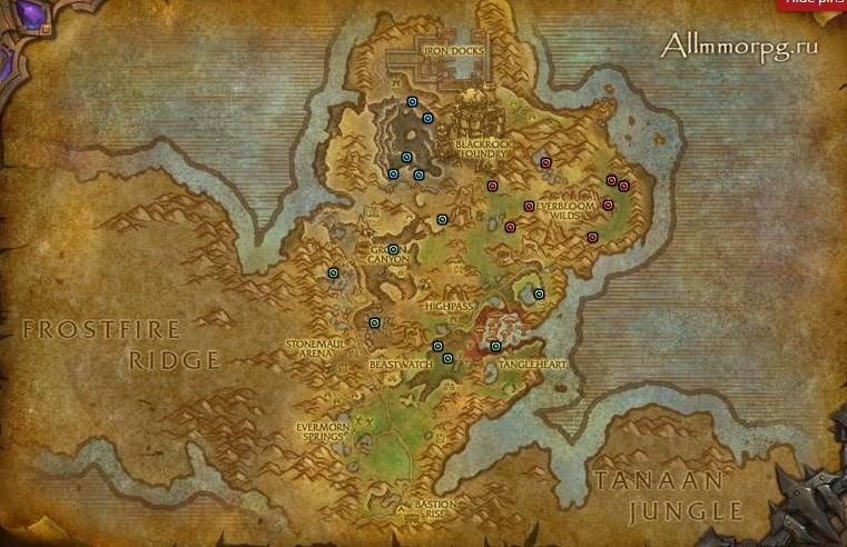 Карта редких монстров для достижений