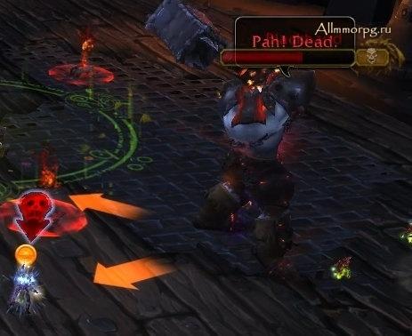 Цель Метки смерти помечается красным черепом и стрелкой Желтая стрелка обозначает направление Пронзающего броска
