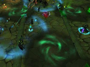 Все Громыхающие разломы (зеленые), за исключением одного, необходимо закрывать, чтобы предотвратить появление Кристаллов Скверны