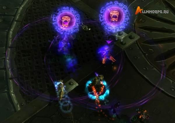 Игроки, ставшие целями для Взгляда Маннорота, беспорядочно бегают из стороны в сторону