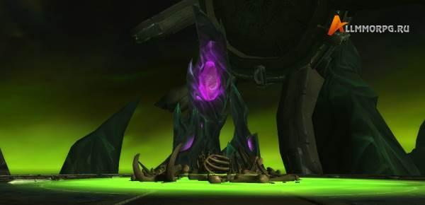 Труп Маннорота, лужа крови Маннорота и фиолетовый шпиль Скверны