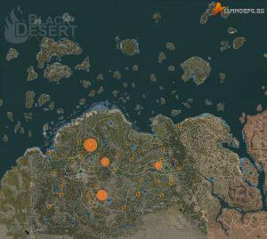 Карта мест для фарма руды
